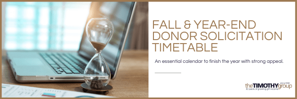 Fall & Year-End Donor Solicitation Timetable